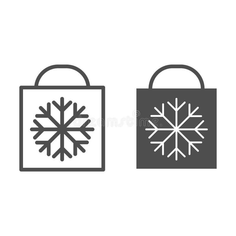 与雪花线和纵的沟纹象的圣诞礼物袋子 购物带来在白色隔绝的传染媒介例证 Xmas礼物 库存例证