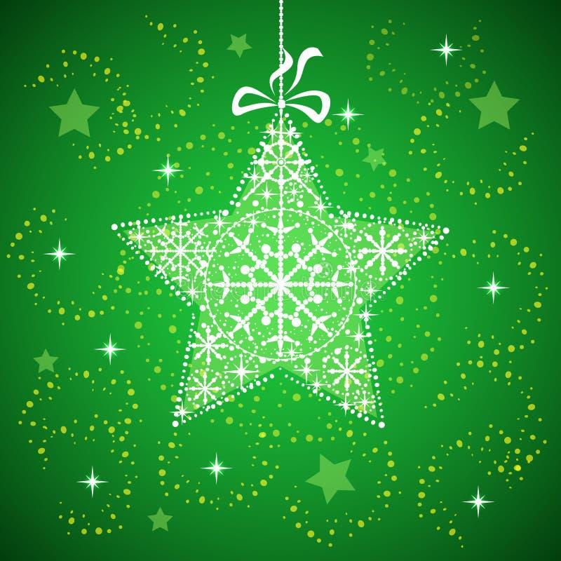 与雪花绿色的圣诞节星形。 免版税库存照片