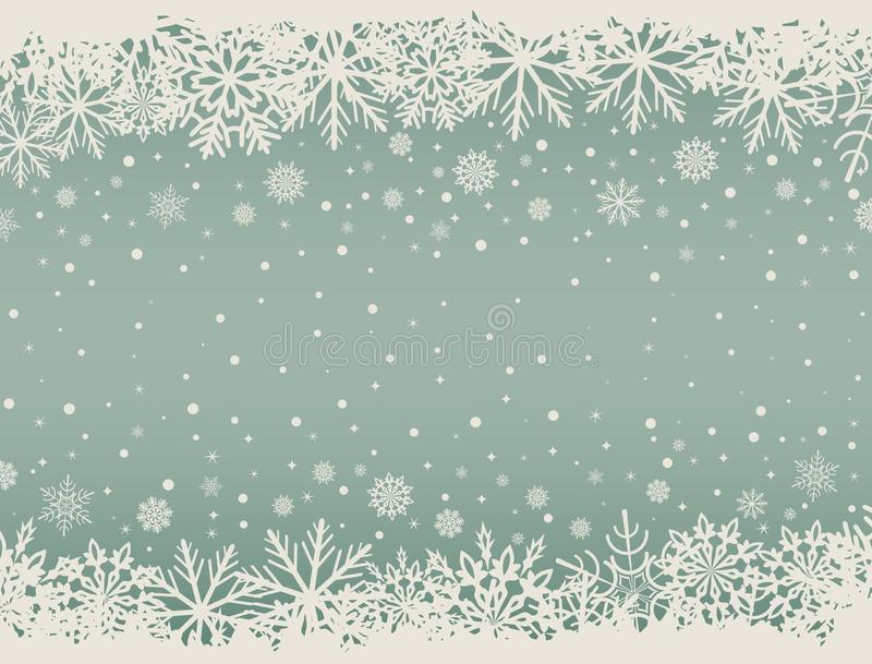 与雪花边界的抽象圣诞节背景 向量例证