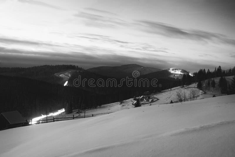 与雪被起草的小山和冷杉森林的夜冬天多雪的视图 图库摄影