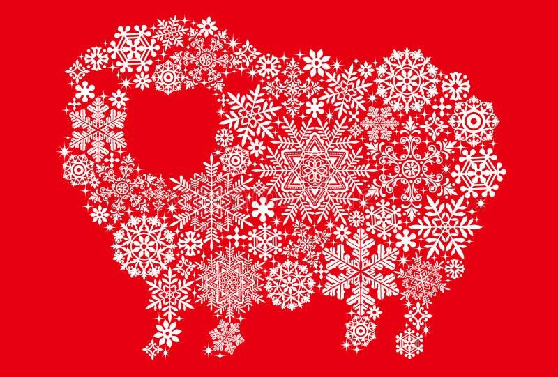 与雪水晶和小垫布的绵羊 皇族释放例证