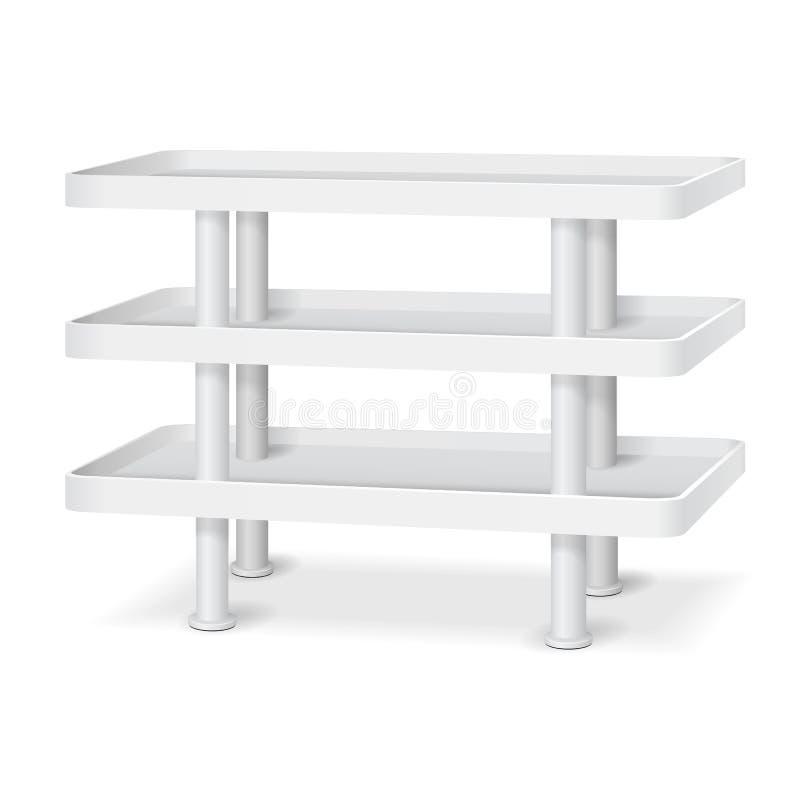 与零售架子的白色空白的空的陈列室陈列台 圆角落 3D在被隔绝的白色背景的产品 向量例证
