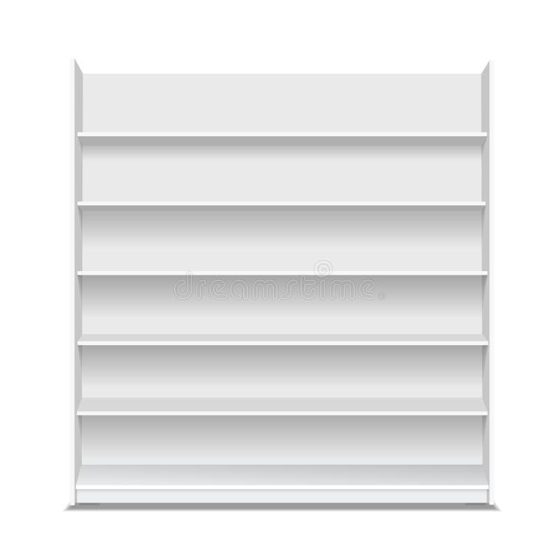 与零售架子的白色空的陈列室显示 3D被隔绝的正面图 做广告的模板 皇族释放例证