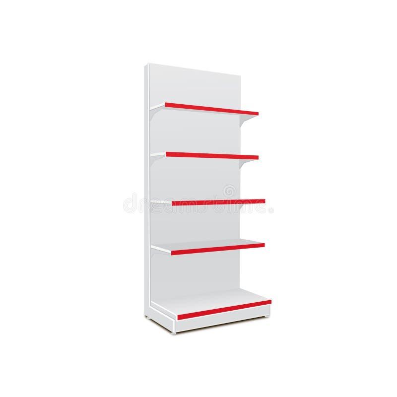 与零售架子的白色长的空白的空的陈列室显示 3D在被隔绝的白色背景的产品 为您的设计准备 向量例证