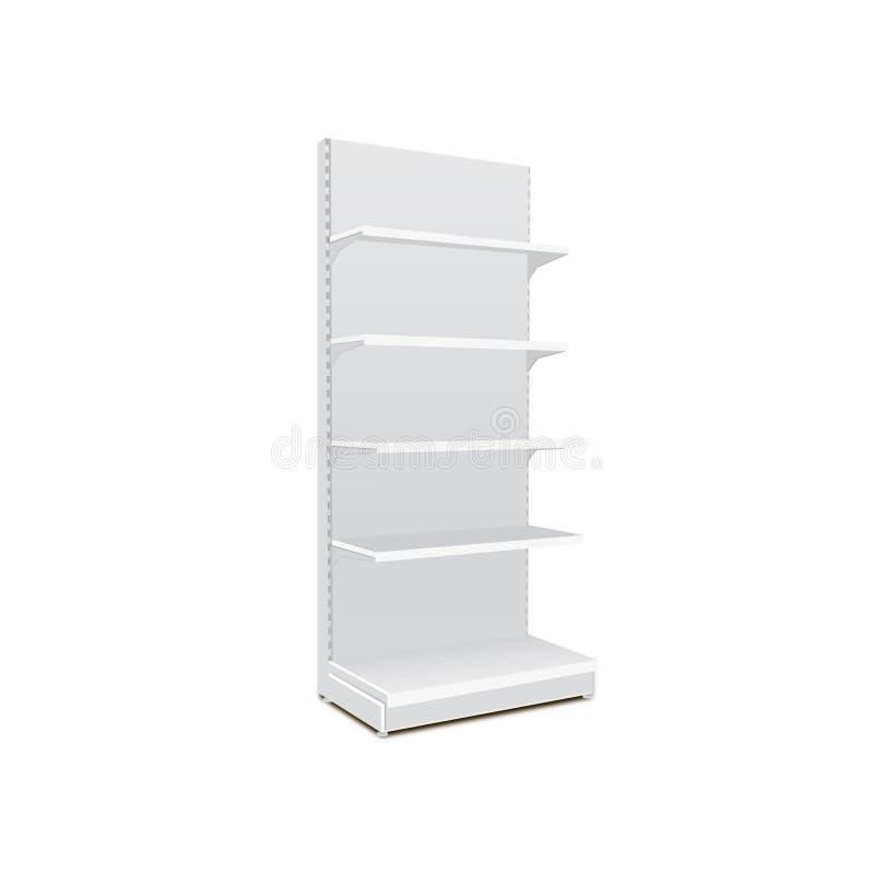 与零售架子的白色长的空白的空的陈列室显示 3D在被隔绝的白色背景的产品 为您的设计准备 皇族释放例证