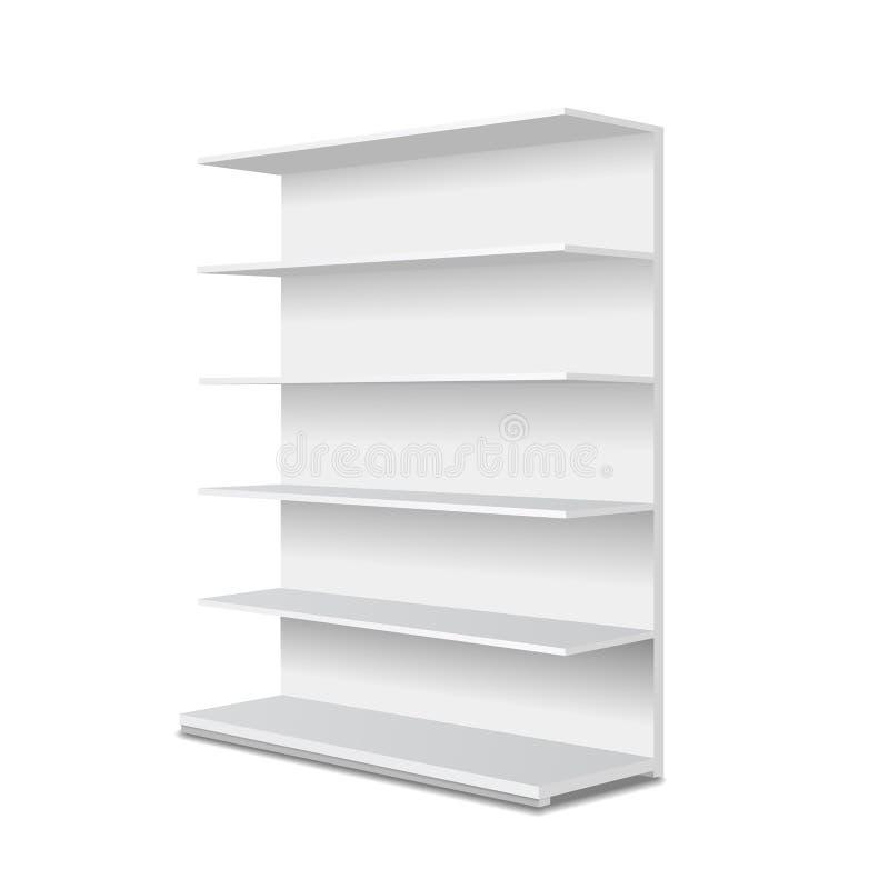 与零售架子的白色长的空的陈列室显示 透视图 向量例证