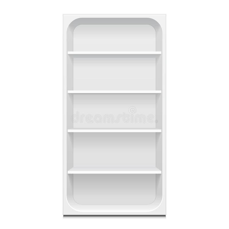 与零售架子的空白的空的被环绕的陈列室显示 3d 正面图 嘲笑,模板 eps10开花橙色模式缝制的rac ric缝的镶边修整向量墙纸黄色 库存例证