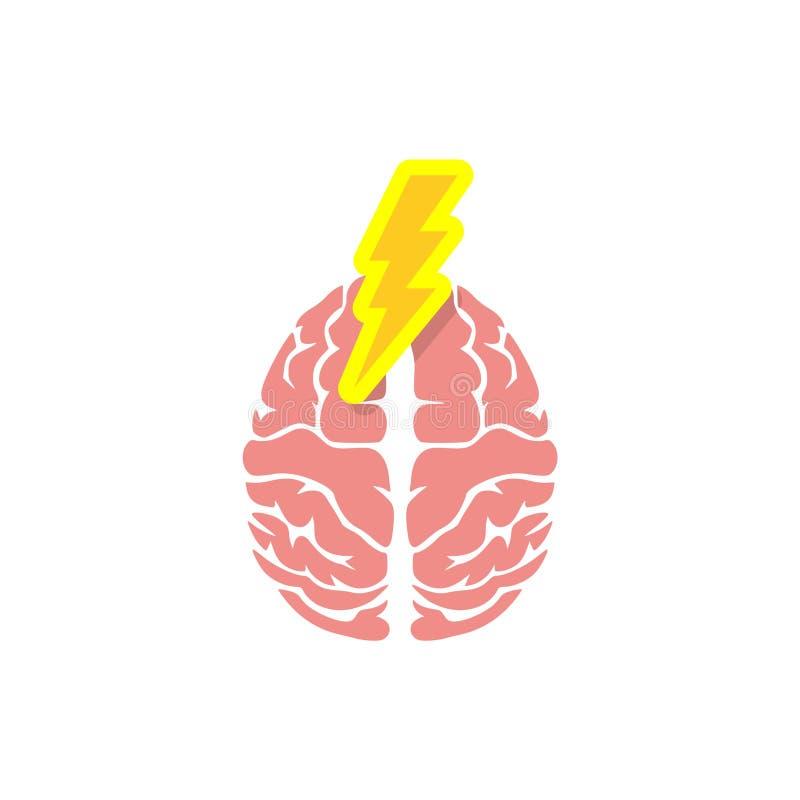 与雷电的脑子人体器官 向量例证