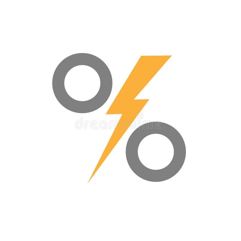 与雷闪电的百分之在中部 库存例证