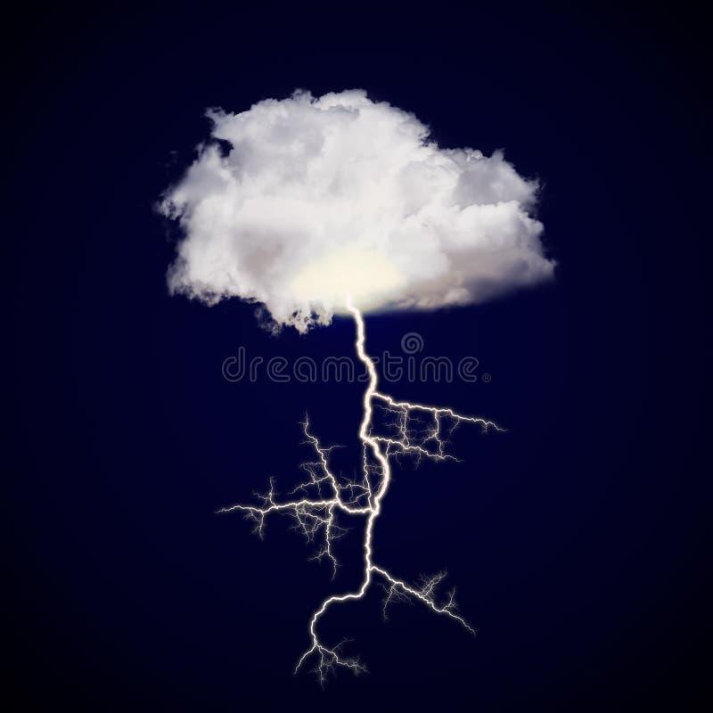 与雷击的云彩 向量例证