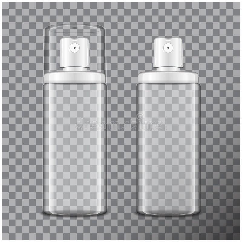 与雾化器的透明瓶集合 假装瓶化妆或医疗小瓶,烧瓶,flacon传染媒介3d例证 向量例证