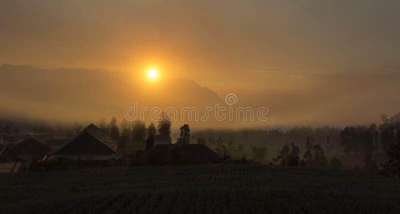 与雾的日出在Cemoro Lawang 库存照片