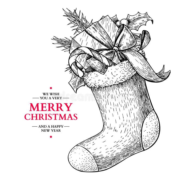 与霍莉、槲寄生、杉树、糖果和礼物的圣诞节袜子 皇族释放例证