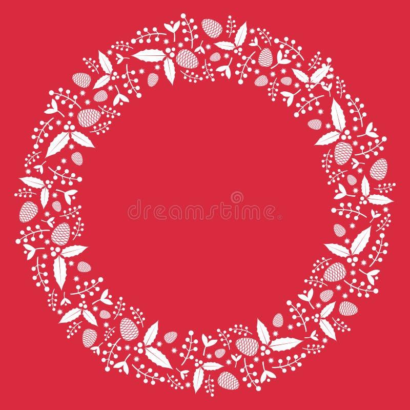 与霍莉植物和pinecone的圣诞节花圈平的例证 库存图片