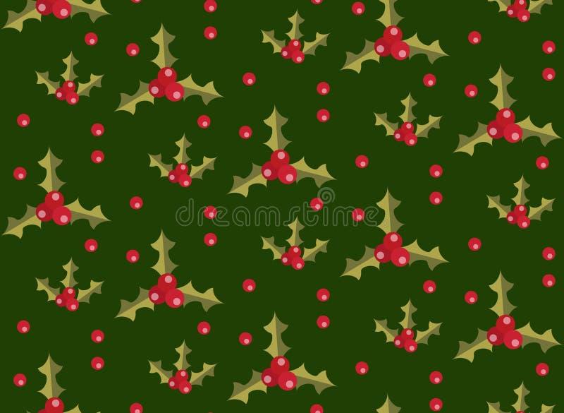 与霍莉的圣诞节无缝的样式 Xmas不尽的背景 重复纹理,墙纸,织品的假日 向量 库存例证