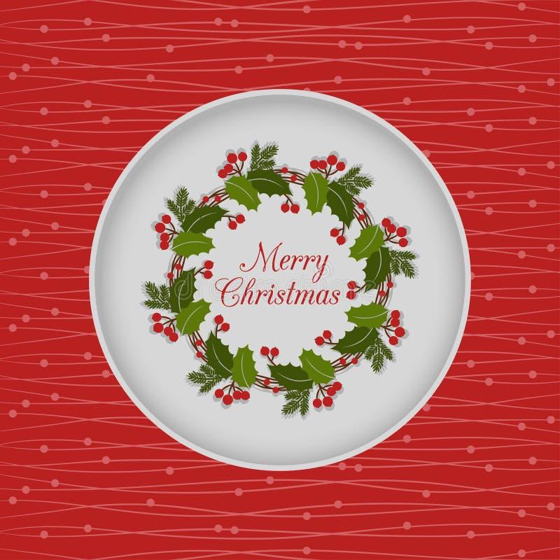 与霍莉花圈的圣诞节无缝的卡片,红色 皇族释放例证
