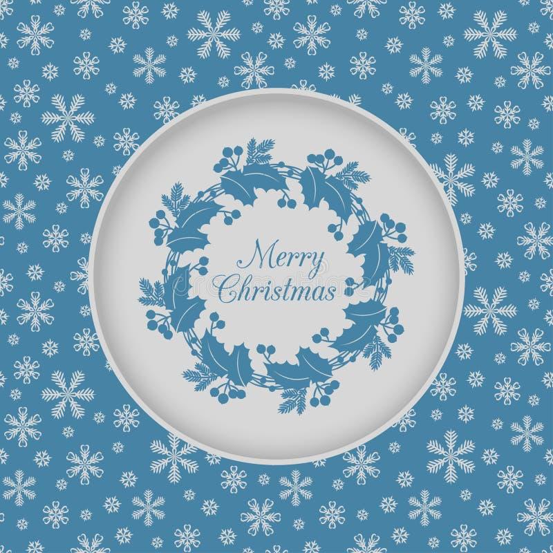 与霍莉花圈的圣诞节无缝的卡片,蓝色 向量例证