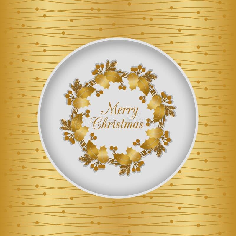 与霍莉花圈,金子的圣诞节无缝的卡片 库存例证