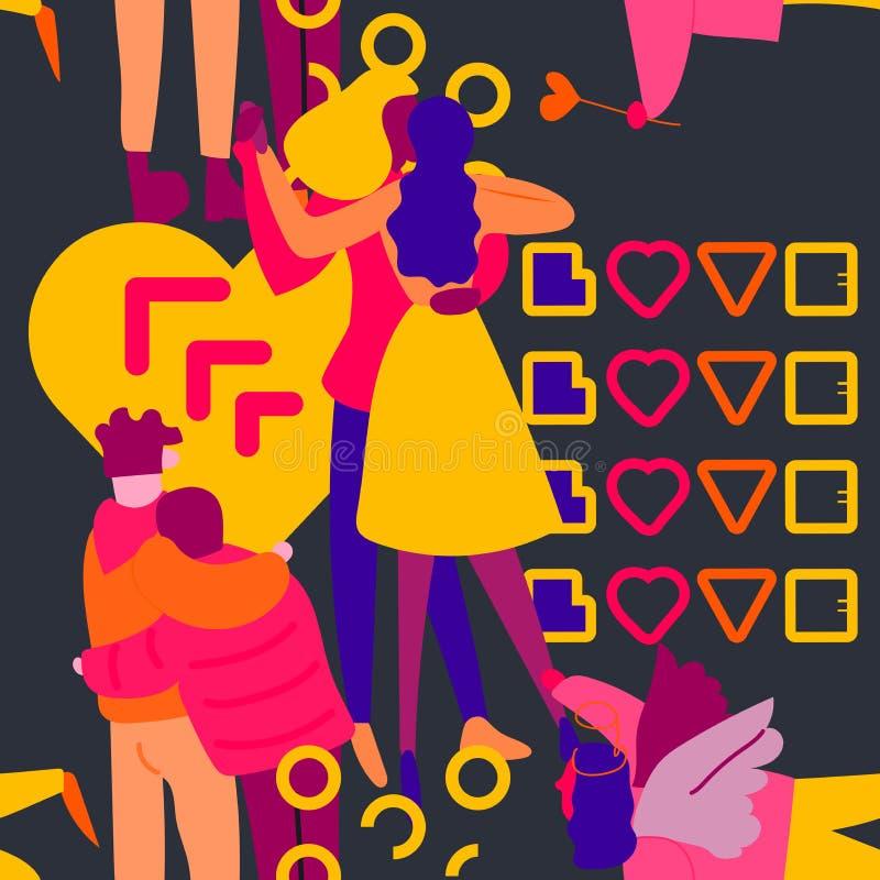 与霓虹人的无缝的样式爱党平的例证的 库存例证