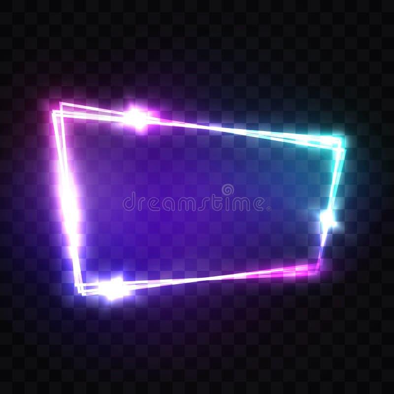 与霓虹作用的空白的3d光标志 Techno框架 库存例证