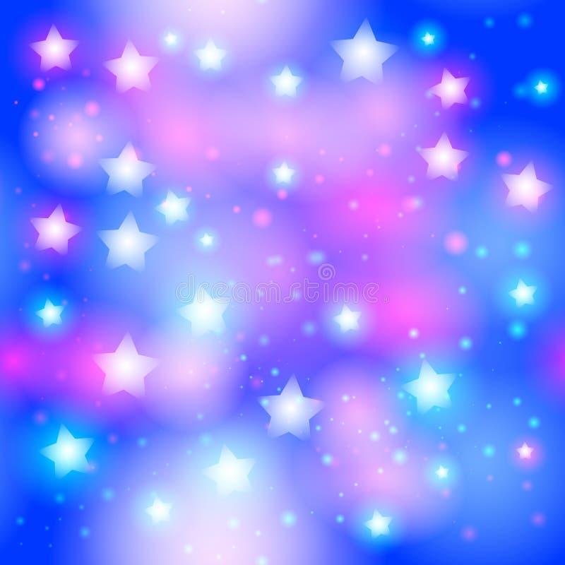 与霓虹星的抽象满天星斗的无缝的样式在明亮的桃红色和蓝色背景 星系与星的夜空 向量 皇族释放例证