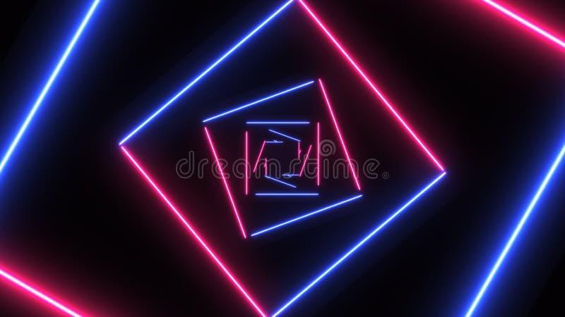 与霓虹正方形的抽象背景 皇族释放例证