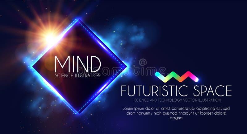与霓虹灯的抽象Geomrtic横幅 时髦党海报模板 未来派空间 魔术和奥秘设计 皇族释放例证