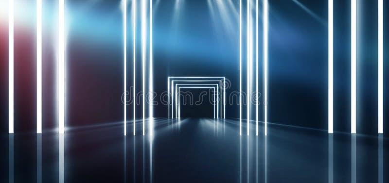 与霓虹灯,隧道,走廊,红色激光光芒,烟的抽象蓝色背景 皇族释放例证