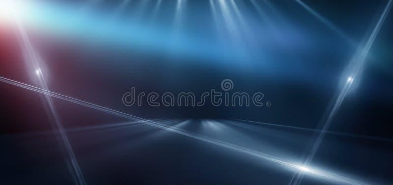 与霓虹灯,隧道,走廊,红色激光光芒,烟的抽象蓝色背景 库存例证