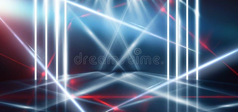 与霓虹灯,隧道,走廊,红色激光光芒,烟的抽象蓝色背景 向量例证
