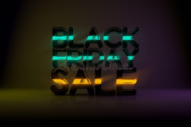 与霓虹焕发和Da的黑星期五销售技术3D背景 库存照片