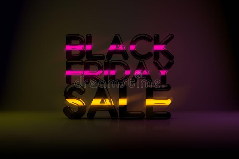 与霓虹焕发和Da的黑星期五销售技术3D背景 免版税图库摄影