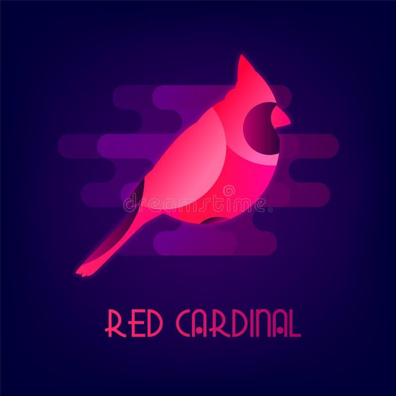 与霓虹焕发的红色主要传染媒介象 平的设计 向量例证