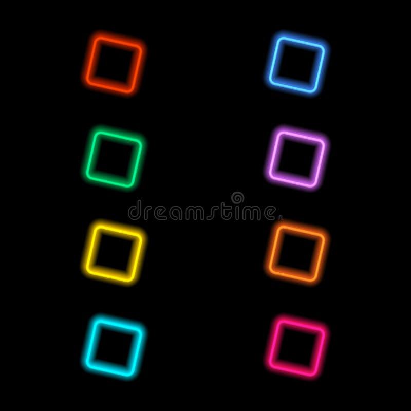 与霓虹焕发的色的正方形在黑背景 免版税库存图片