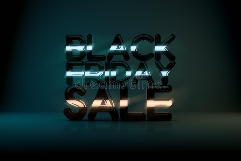 与霓虹焕发的黑星期五销售技术3D背景 免版税库存图片