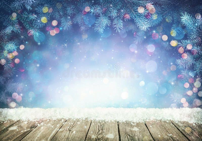 与霜冷杉分支的冬天背景 库存照片