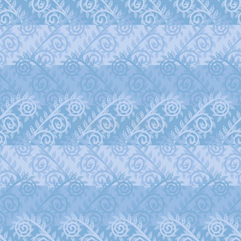 与霜花的无缝的传染媒介样式在水色蓝色 向量例证