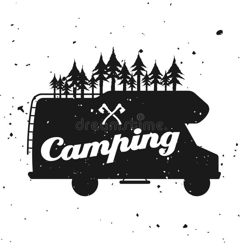 与露营者货车的室外野营的传染媒介象征 皇族释放例证
