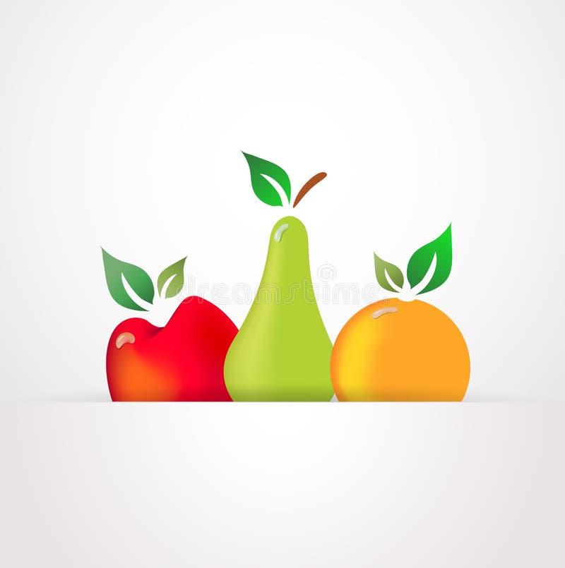 与露水下落的新鲜水果  向量例证