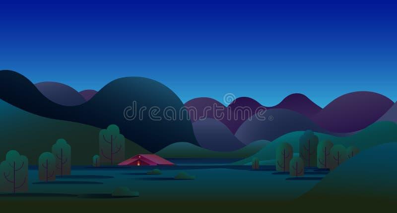 与青山、树、山和野营的帐篷的自然夜风景在草甸-传染媒介例证背景 向量例证