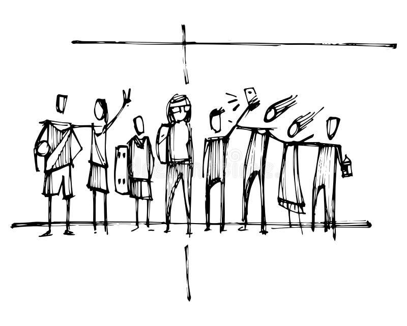与青年人剪影的宗教基督徒十字架 库存例证
