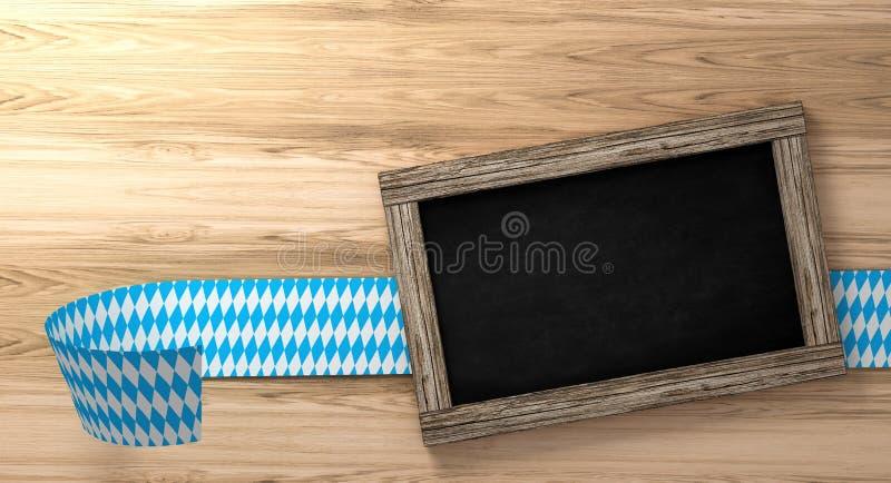 与青白的方格的边界的巴法力亚慕尼黑啤酒节背景在土气木板和黑板, 3d翻译 库存图片