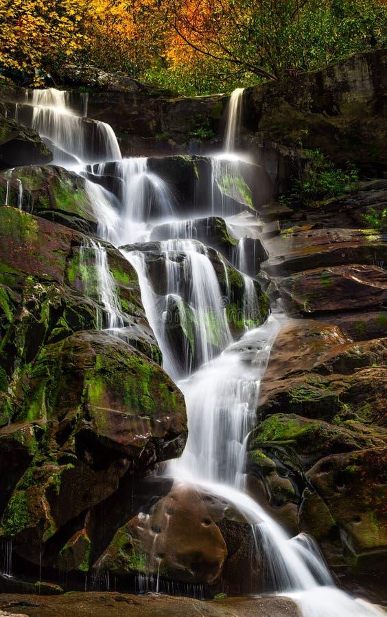 与青苔岩石的瀑布 库存图片
