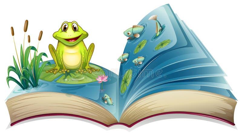 与青蛙的故事的一本书在池塘 皇族释放例证