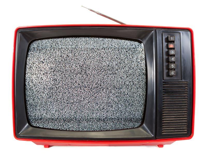 与静态噪声的葡萄酒便携式的电视在白色隔绝的屏幕上 图库摄影