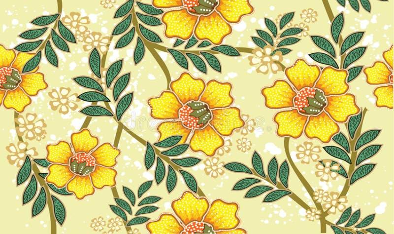 与非常分明植物群样式的印度尼西亚蜡染布主题,与好颜色 皇族释放例证