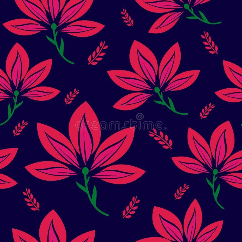 与非常美好的叶子和颜色主题的无缝的样式 花饰与夏天叶子主题的样式背景 向量例证