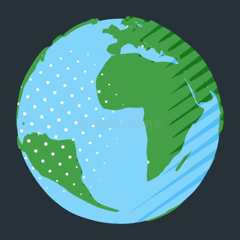 与非洲和南美洲的世界地图漫画样式地球的 向量例证