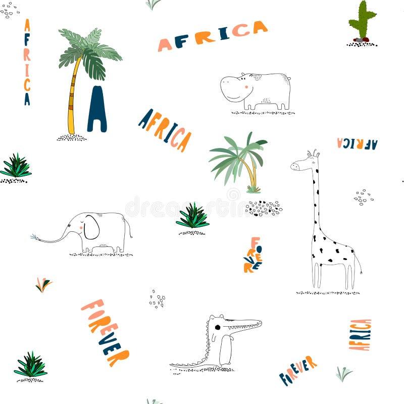 与非洲滑稽的幼稚动物的无缝的样式背景 向量例证