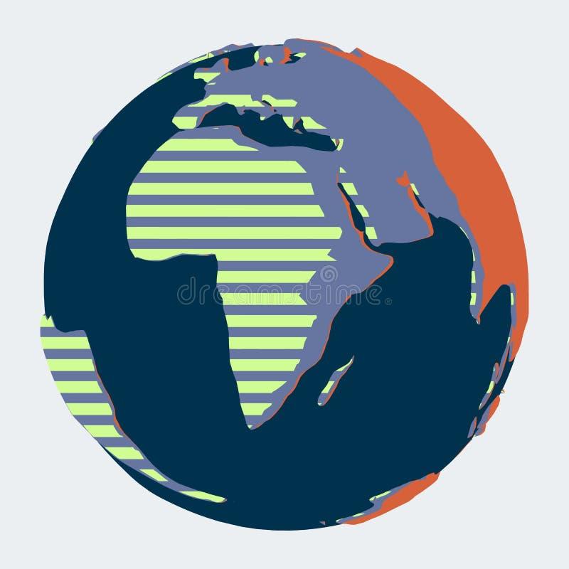 与非洲的地球在漫画平的样式的前景的 向量例证